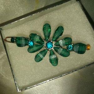 Green floral Barret